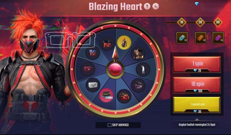 Event Spin Bundle Blazing Heart dan 9999 Diamond Free Fire